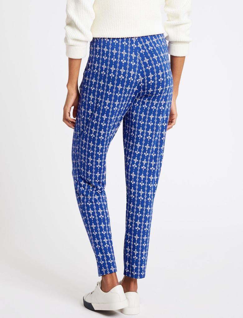 Mavi Desenli Elastik Belli Pantolon