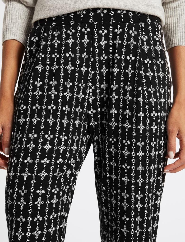 Desenli Elastik Belli Pantolon