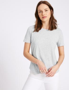 Gri Kısa Kollu Yuvarlak Yaka T-Shirt