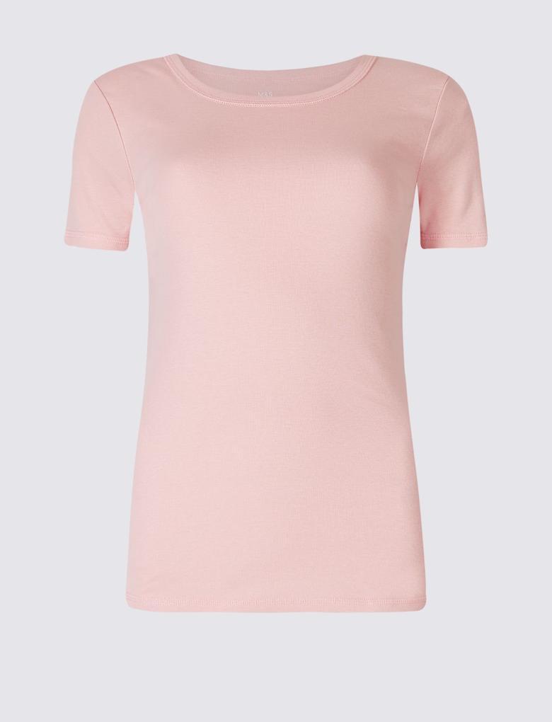 Pembe Saf Pamuklu Yuvarlak Yaka Kısa Kollu T-Shirt