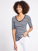 Saf Pamuklu Çizgili Yarım Kollu T-Shirt