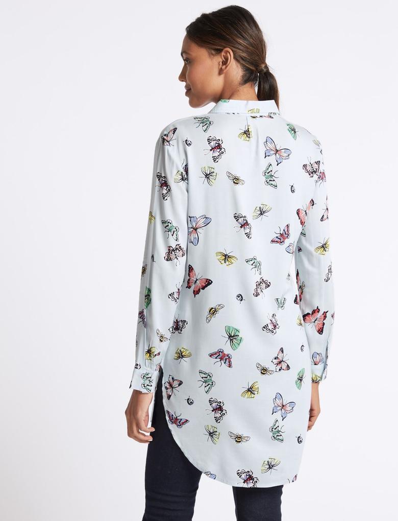Kelebek Desenli Uzun Kollu Gömlek