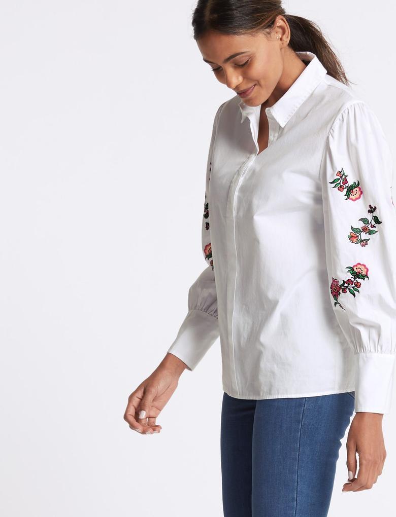 Saf Pamuklu Çiçek İşlemeli Gömlek