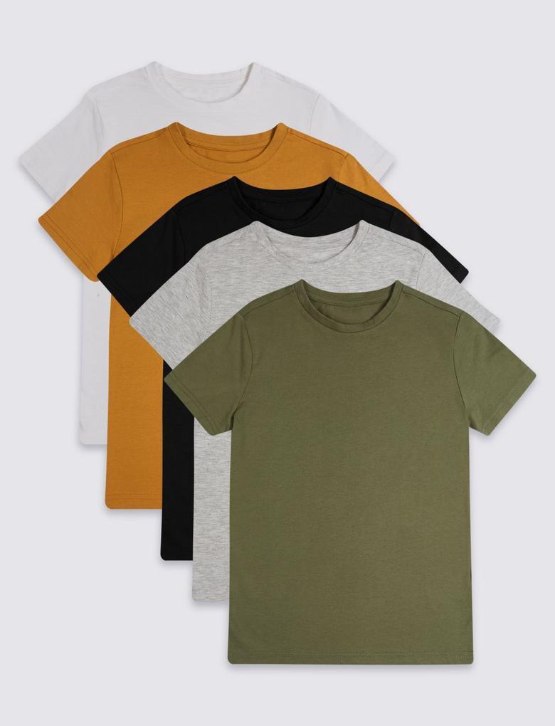 Multi Renk 5'li Uzun Kollu T-Shirt (3 - 16 Yaş)