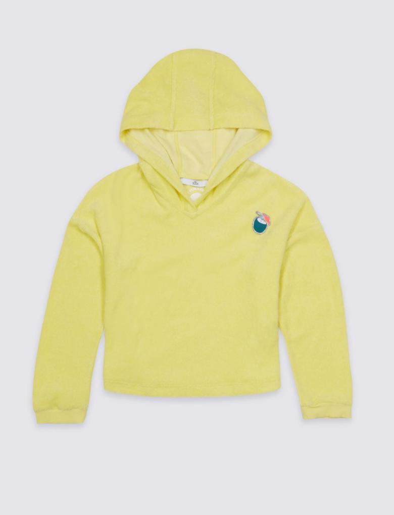 Sarı Pamuklu Kapüşonlu Sweatshirt (3 - 16 Yaş)