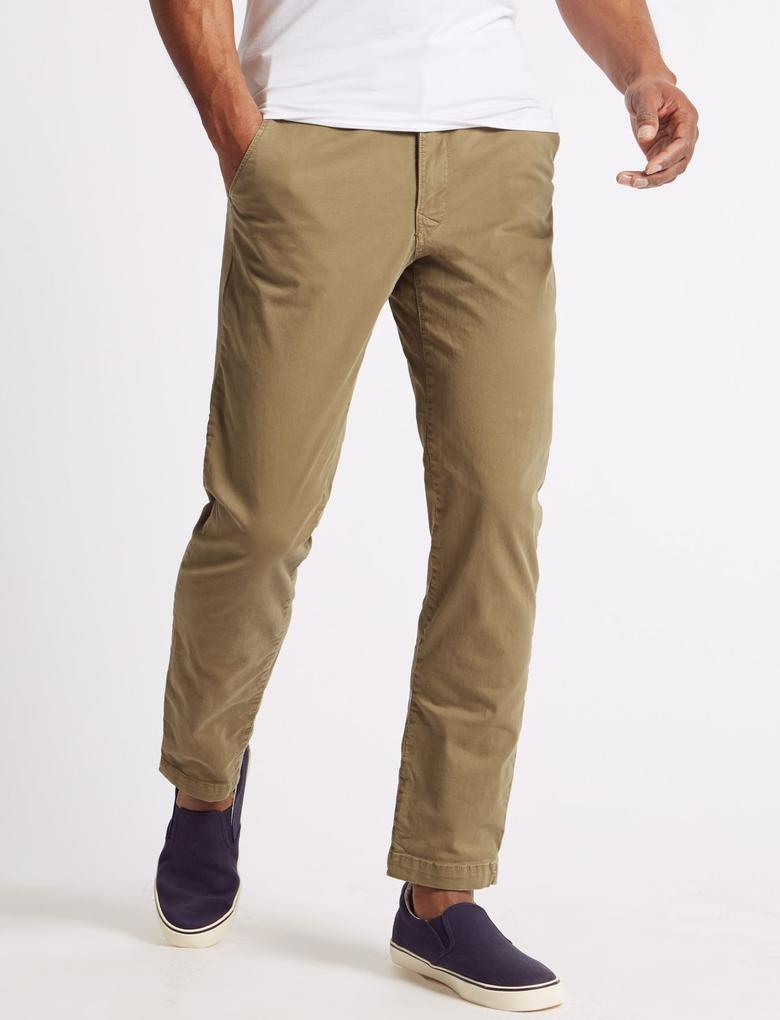 Renksiz Slim Fit Pamuklu Chino Pantolon