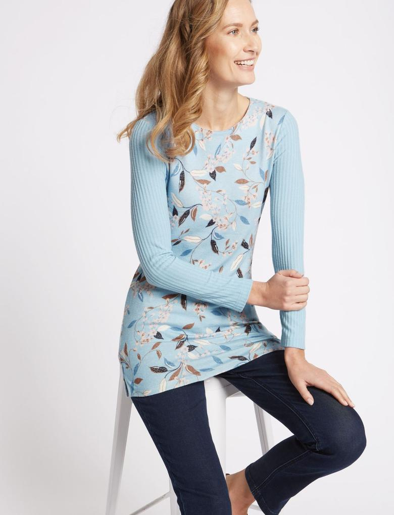 Mavi Çiçek Desenli Yuvarlak Yaka Tunik Bluz