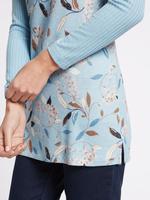 Çiçek Desenli Yuvarlak Yaka Tunik Bluz