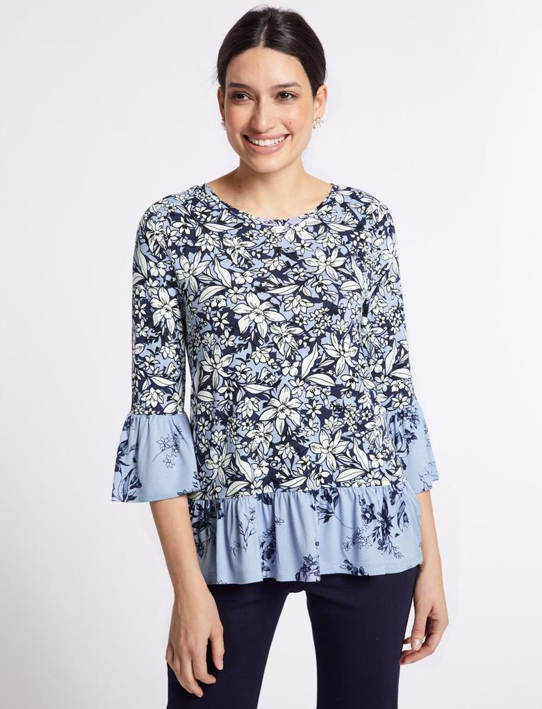 Çiçek Desenli Fırfır Kollu T-Shirt