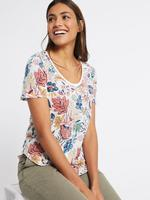 Saf Pamuklu Çiçek Desenli Yuvarlak Yaka T-Shirt