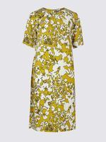 Çiçek Desenli Yarım Kollu Elbise