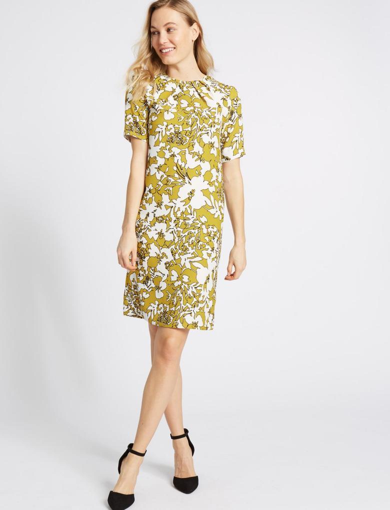 Sarı Çiçek Desenli Yarım Kollu Elbise