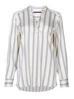 Çizgili Uzun Kollu Saten Gömlek