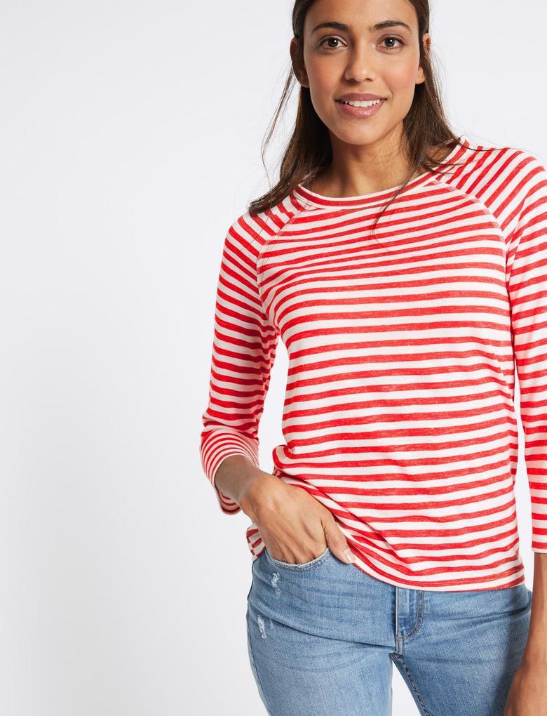 Kırmızı Çizgili Reglan Kollu Yuvarlak Yaka T-Shirt