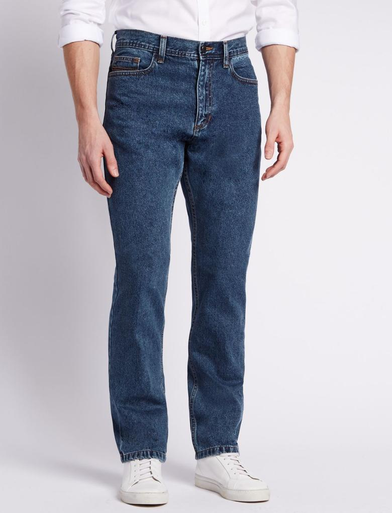 Regular Fit Saf Pamuklu Jean Pantolon