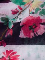Çiçek Desenli Çizgili Şal