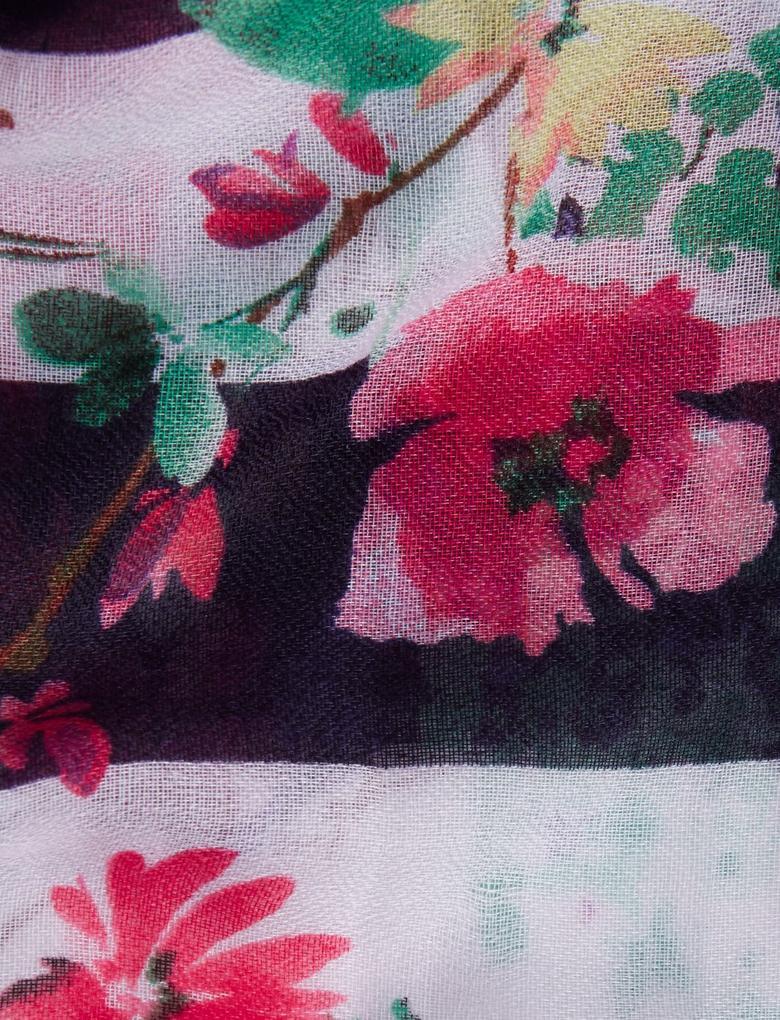 Lacivert Çiçek Desenli Çizgili Şal