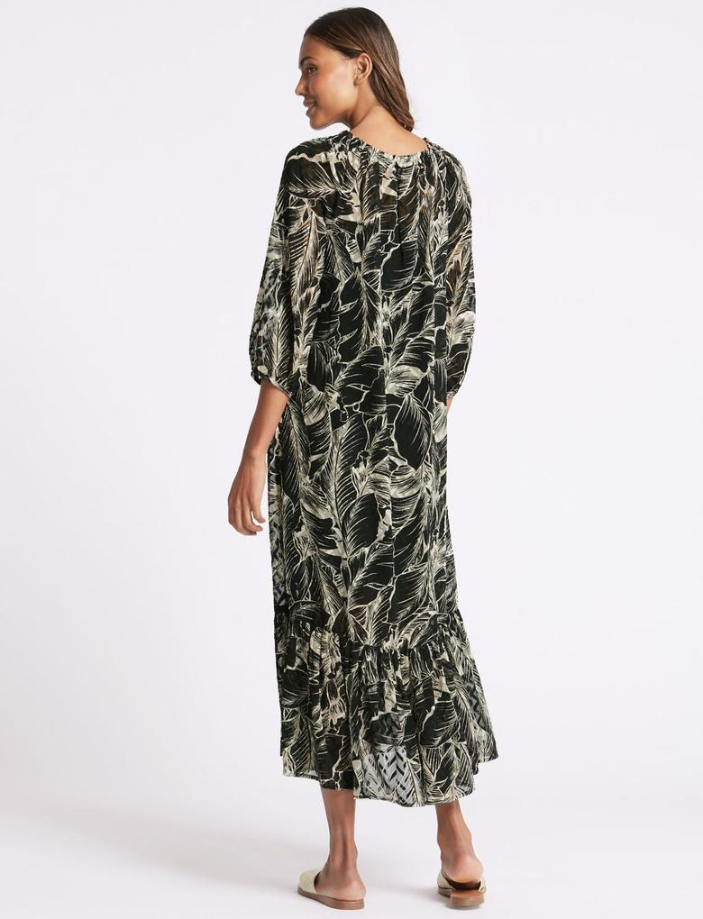 Siyah Desenli Uzun Kollu Maxi Elbise