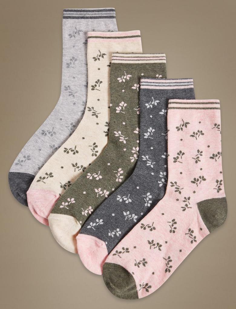 5'li Desenli Pamuklu Çorap