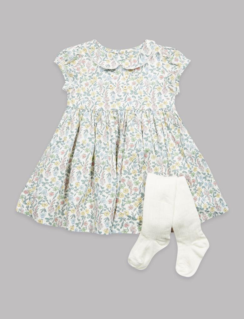 Bebek Yeşil 2 Parça Çiçek Desenli Elbise ve Külotlu Çorap Takımı