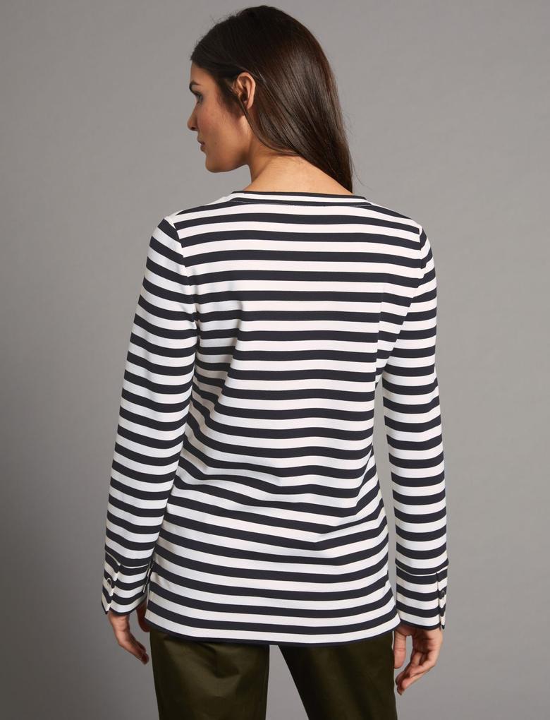 Lacivert Çizgili Yuvarlak Yaka Uzun Kollu T-Shirt