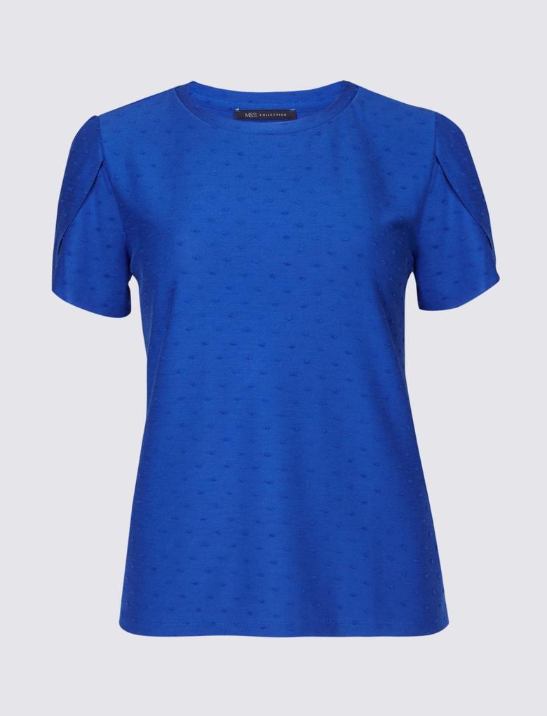Puantiyeli Kısa Kollu T-Shirt