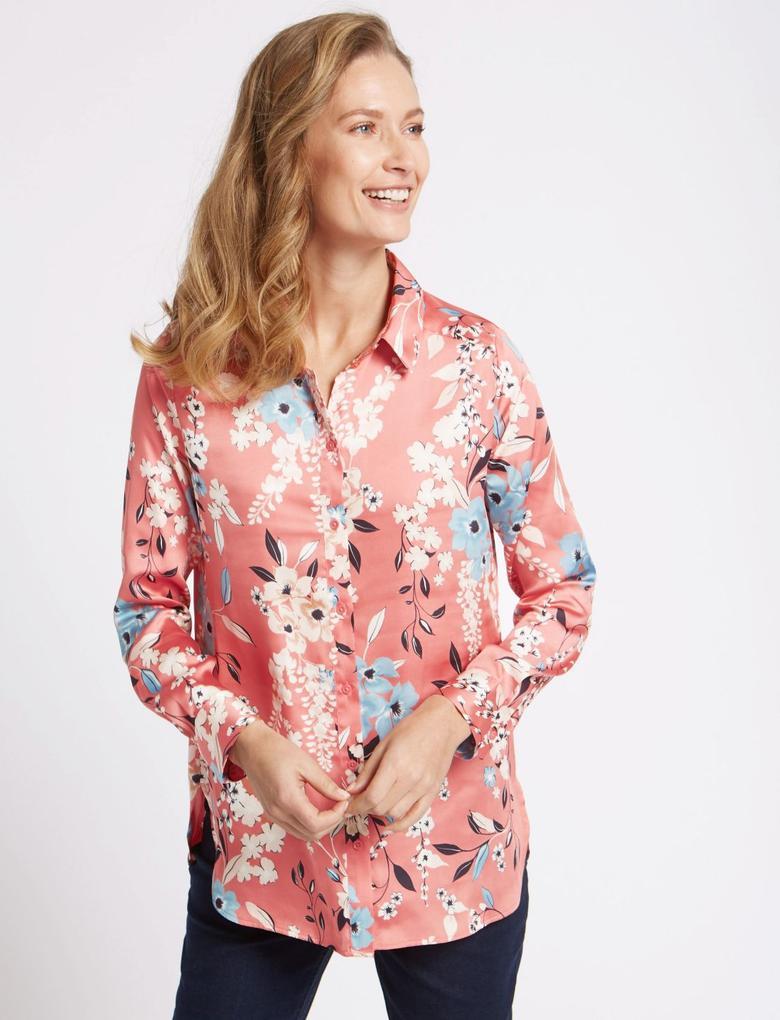 Bej Çiçek Desenli Uzun Kollu Saten Gömlek