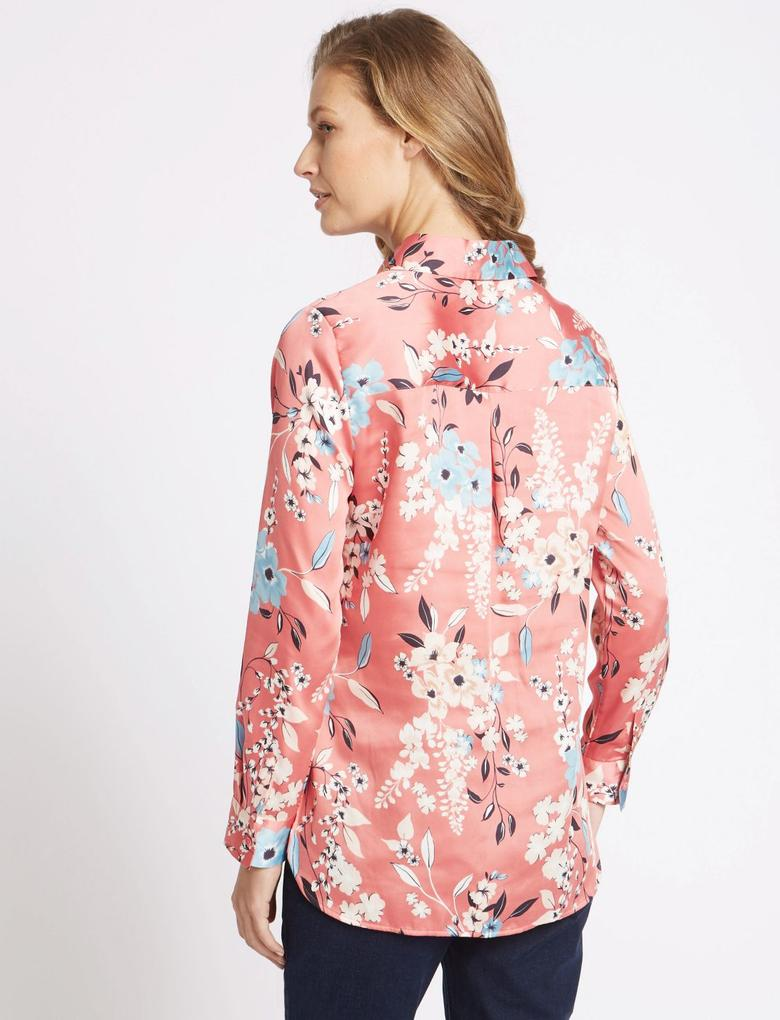 Çiçek Desenli Uzun Kollu Saten Gömlek