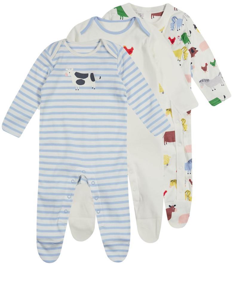 3'lü Unisex Saf Pamuklu pijama Tulum