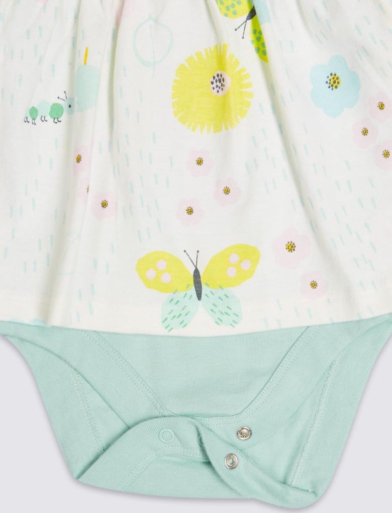 Multi Renk Saf Pamuklu Elbise Body