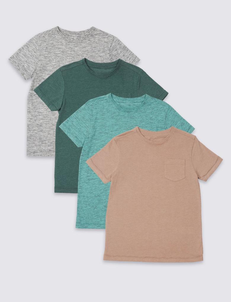Multi Renk 4lü Pamuklu Üst (3 - 16 Yaş)