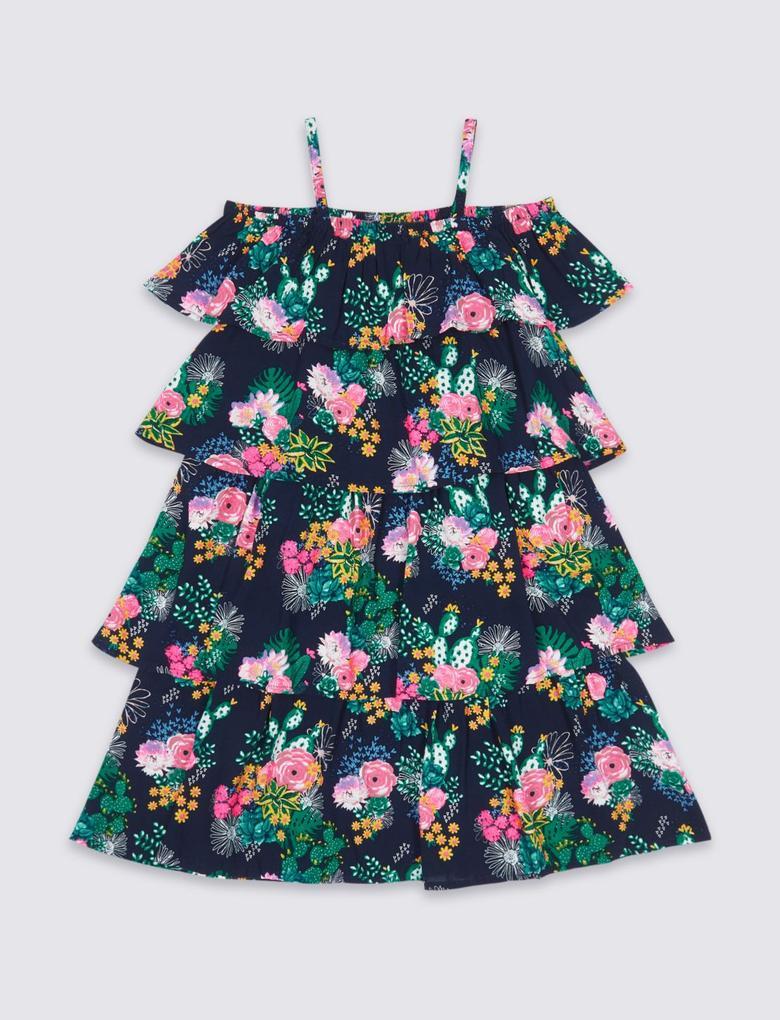 Çiçek Desenli Elbise (3 - 16 Yaş)