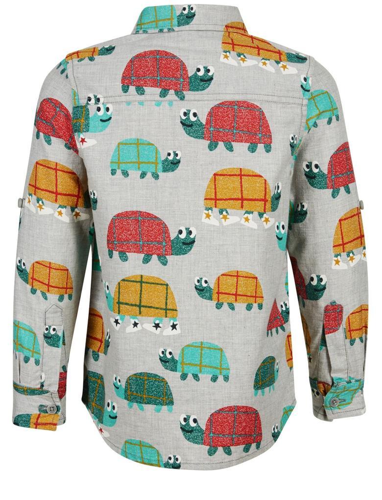 Saf Pamuklu Desenli Gömlek (3 Ay - 7 Yaş)