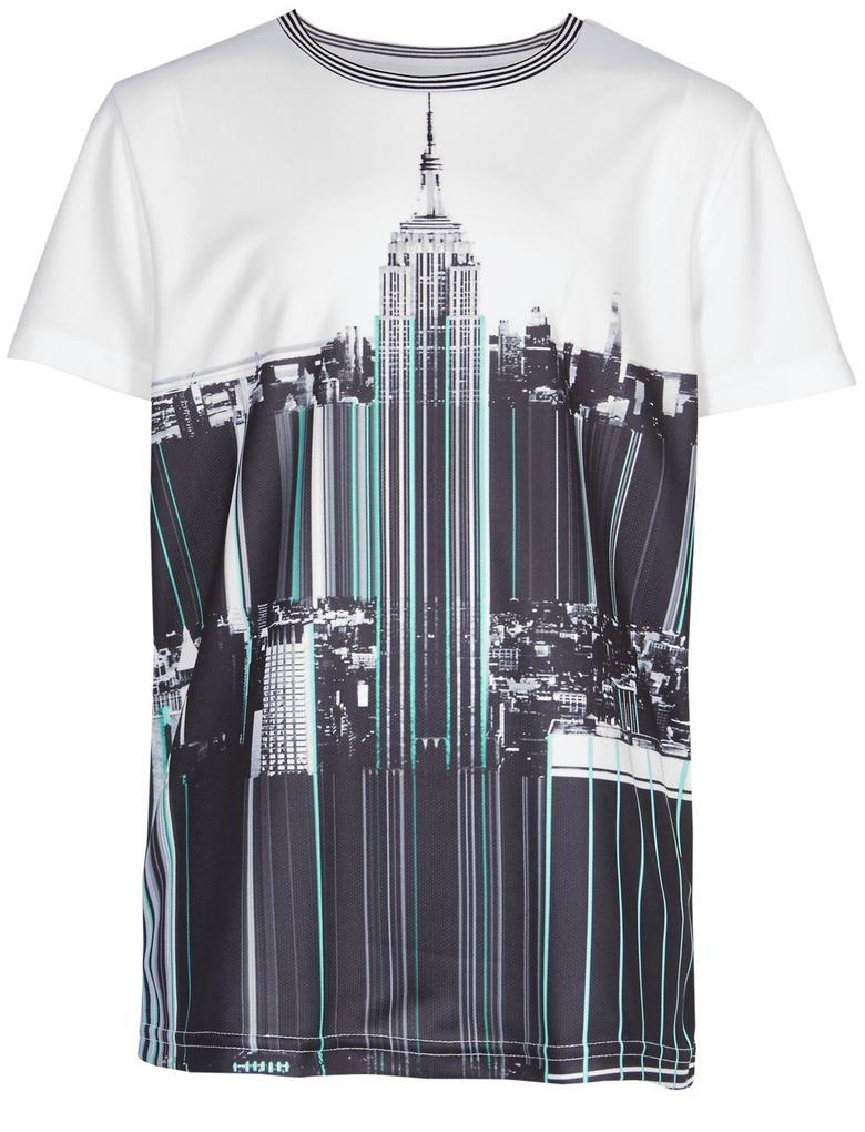 Multi Renk Desenli Kısa Kollu T-Shirt (3 - 16 Yaş)