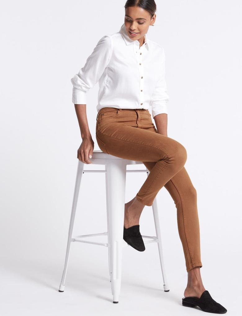 Bej Orta Belli Super Skinny Jean Pantolon