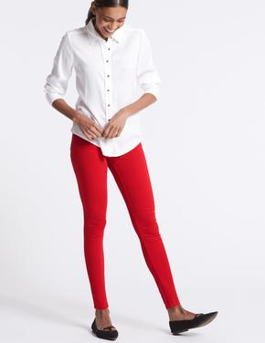 Kırmızı Orta Belli Super Skinny Jean Pantolon
