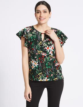 Siyah Çiçek Desenli Kısa Kollu T-Shirt