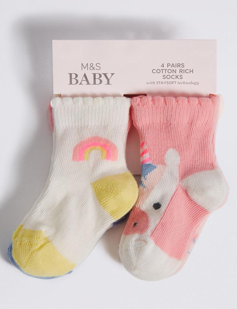 Pembe 4'lü Pamuklu Bebek Çorap Seti(0 - 24 Ay)