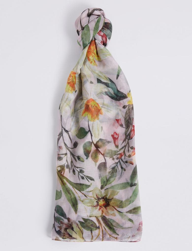 Kadın Bej Çiçek Desenli Şal