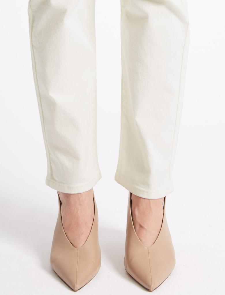 Bej Straight Leg Bilek Hizasında Jean Pantolon