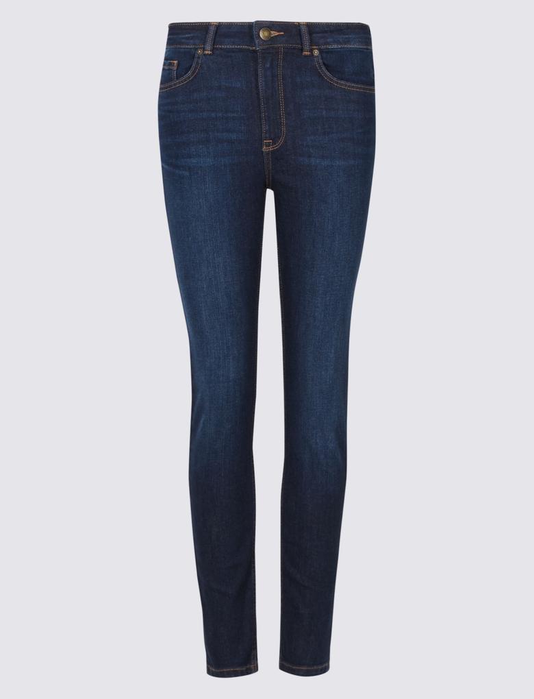Lacivert Orta Belli Skinny Leg Jean Pantolon