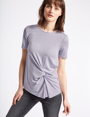 Mor Modal Karışımlı Kısa Kollu T-Shirt