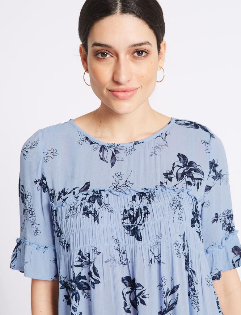 Multi Renk Desenli Yarım Kollu Bluz