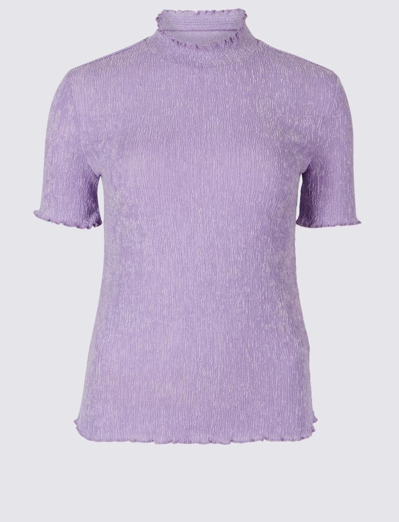 Boğazlı Kısa Kollu T-Shirt