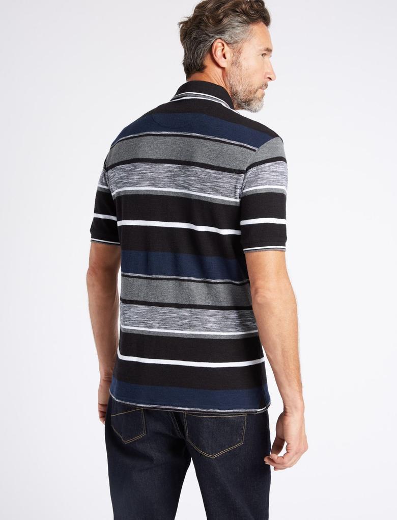Siyah Slim Fit Saf Pamuklu Çizgili Polo Yaka T-Shirt