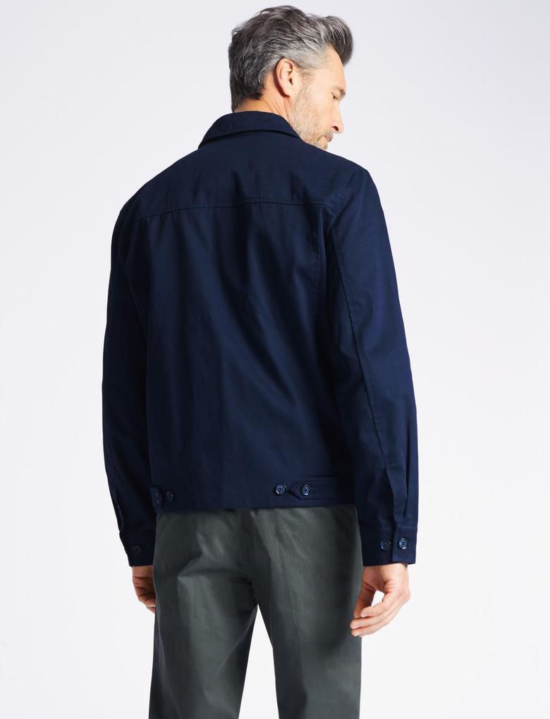 Lacivert Saf Pamuklu Ceket (Stormwear™ Teknolojisi ile)