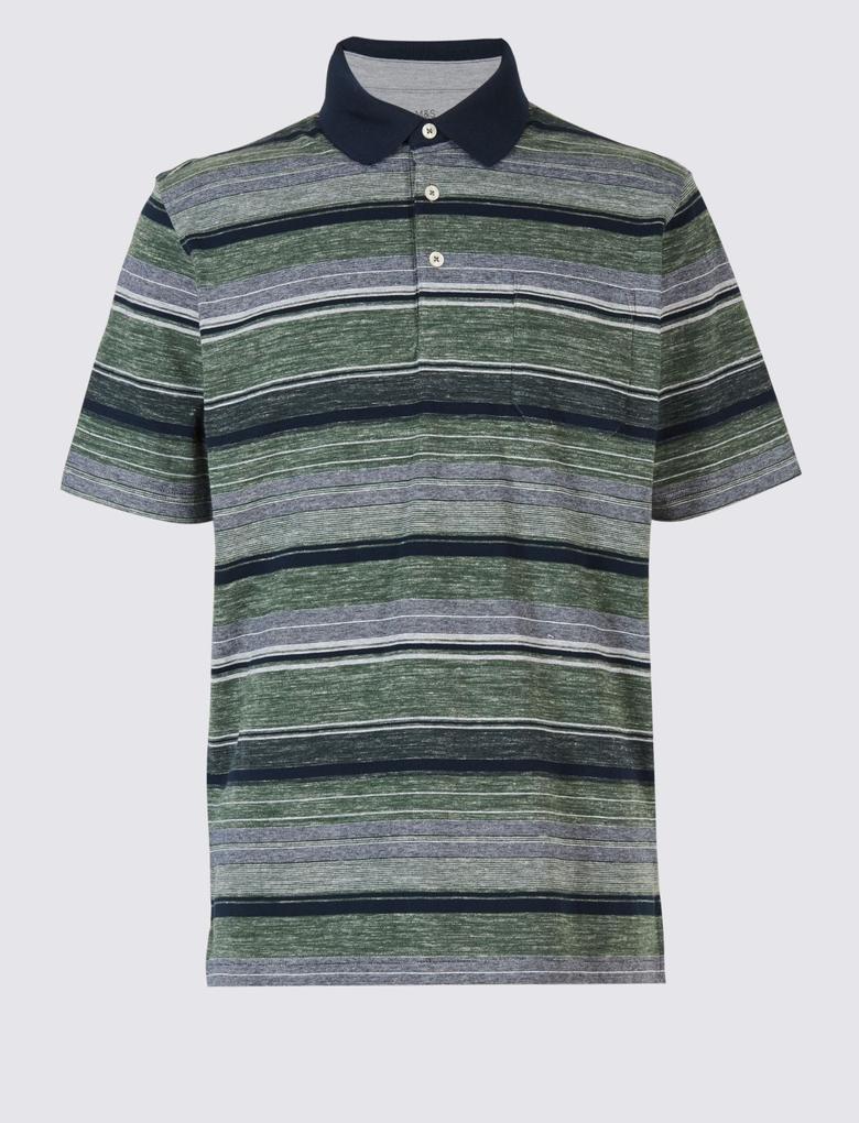 Saf Pamuklu Çizgili Polo Yaka T-Shirt