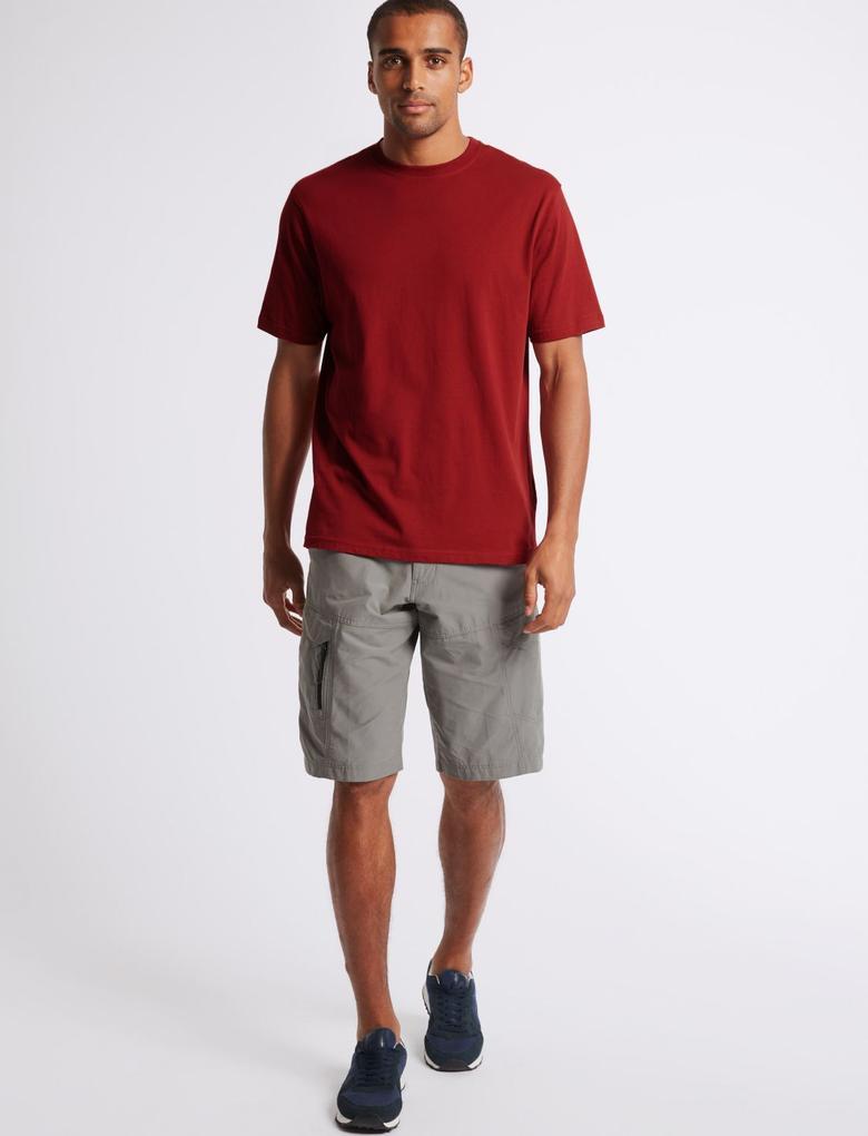 Kırmızı Saf Pamuklu Sıfır Yaka T-Shirt