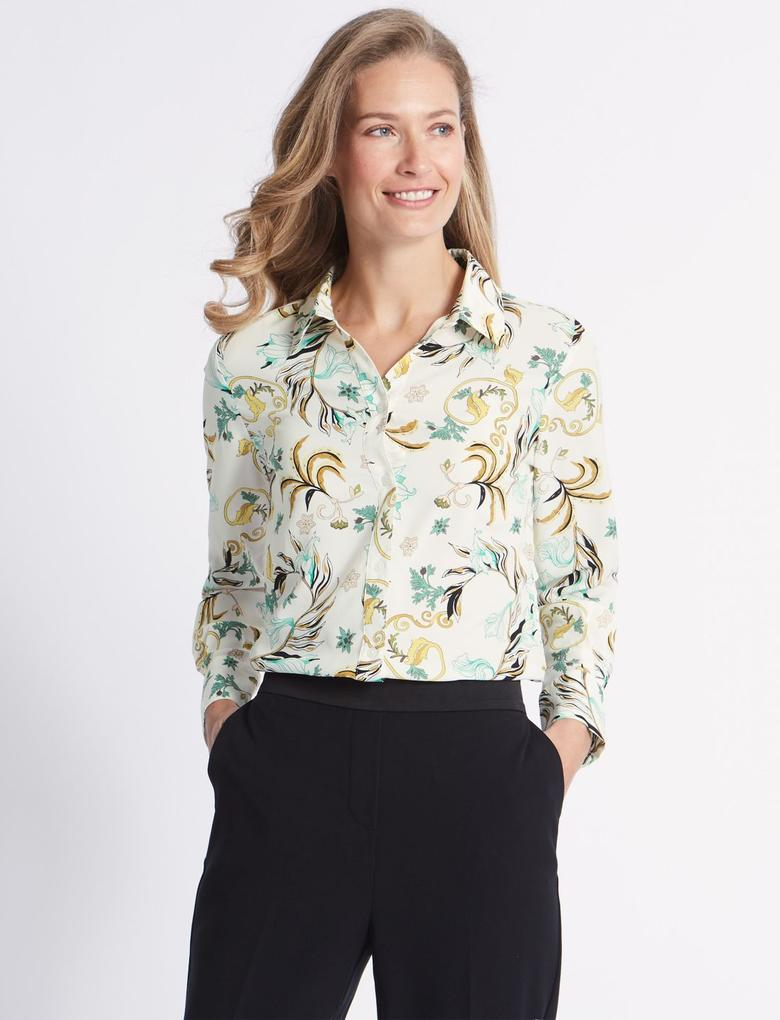 Bej Çiçek Desenli Uzun Kollu Gömlek