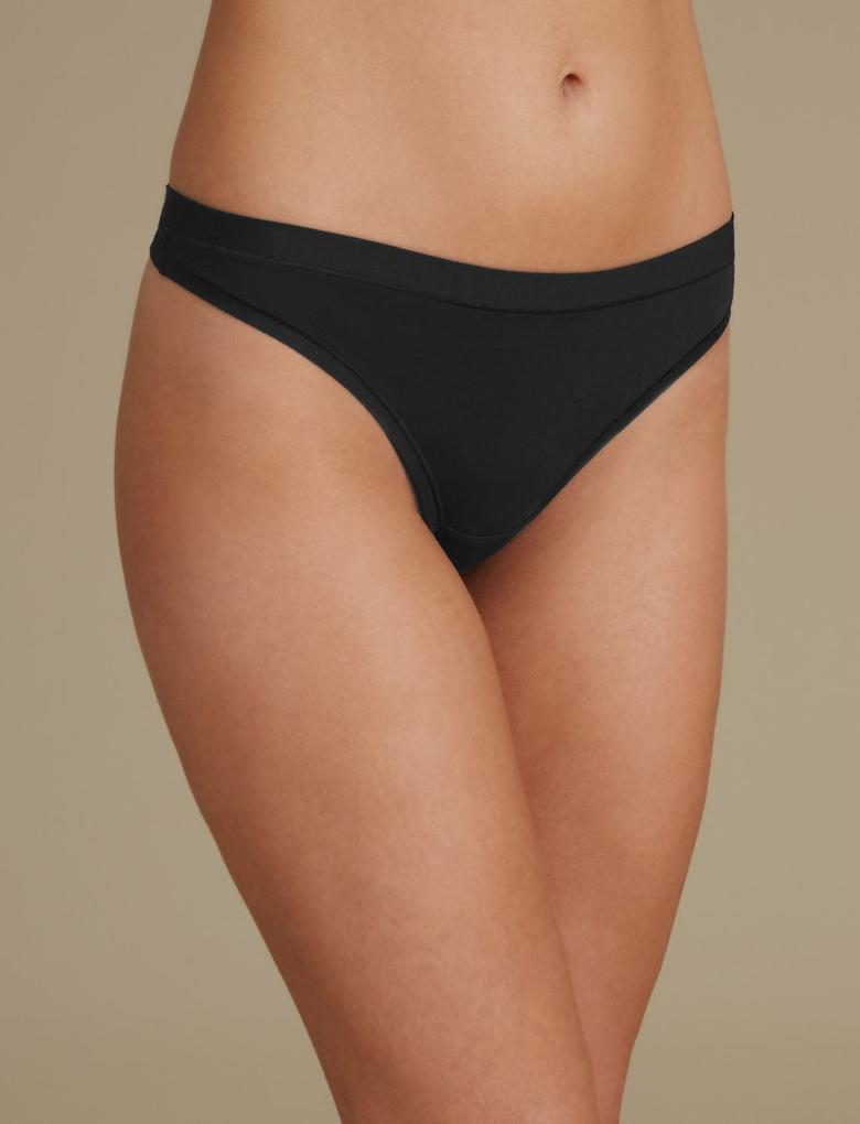Kadın Siyah Modal Karışımlı Flexifit™ Tanga